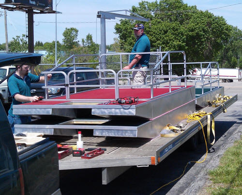 12 ft new concept pontoons home ez tow trailer for Mini pontoon fishing boats